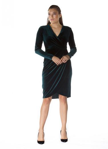 6ixty8ight Kadife V Yaka Uzun Kollu Abiye Elbise Yeşil